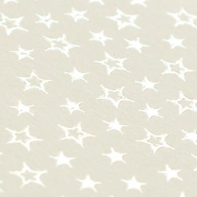 Фото картон с орнаментен лак, 220 g/m2, 47 x 69 cm, 1л, старинно бял със звезди