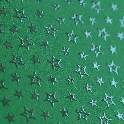 Фото картон с орнаментен лак, 220 g/m2, 47 x 69 cm, 1л, зелен със звезди