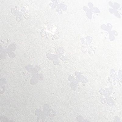 Фото картон с орнаментен лак, 220 g/m2, 47 x 69 cm, 1л, бял/  пеперуди