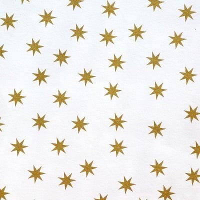 Цветна хартия, 130 g/m2, 50 x 69 cm, 1л, бяла със златни звезди