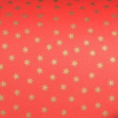 Цветна хартия, 130 g/m2, 50 x 69 cm, 1л, червена със златни звезди