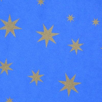 Цветна хартия, 130 g/m2, 50 x 69 cm, 1л, синя със златни звезди