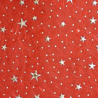 Хартия памучна, 100 g/m2, 50 x 70 cm, 1л, червена с метални зл.звезди