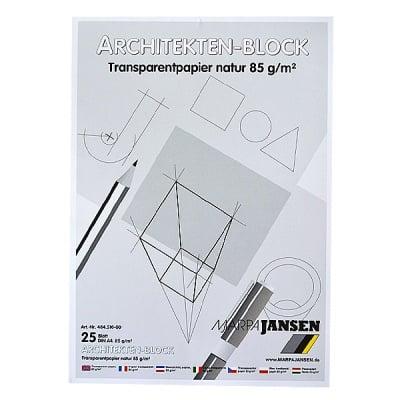 Хартия за архитекти 85 g/m2, А4, 25л в пакет, прозрачна