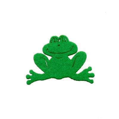 Деко фигурка жаба, филц, 50 mm, зелено