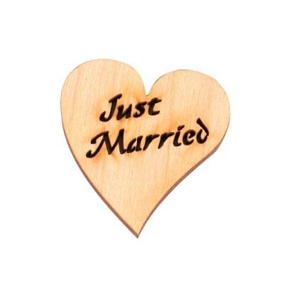 """Деко фигурка сърце """"Just Married"""". дърво. 40 mm"""