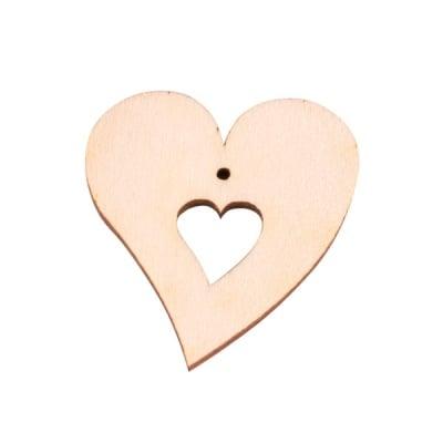 Деко фигурка сърце в сърце с 2 отвора. дърво. 50 mm