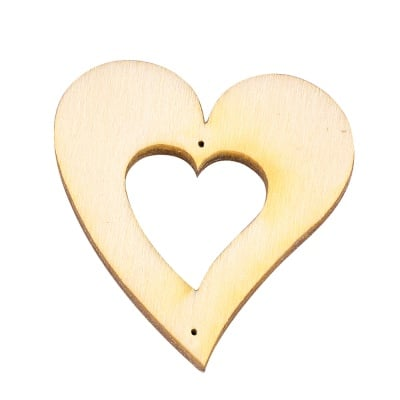 Деко фигурка сърце в сърце/2 отвора. дърво. 150mm