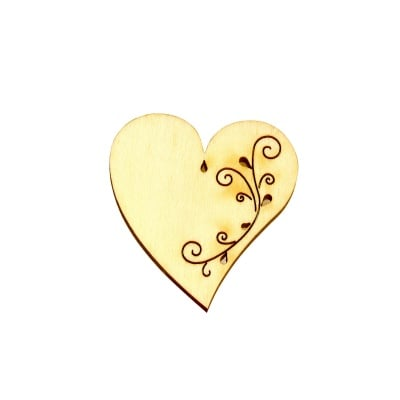 Деко фигурка сърце с филигран с 2 отвора. дърво. 50 mm