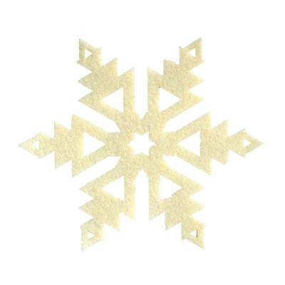 Деко фигурка снежинка, Filz, 150 mm, кремава