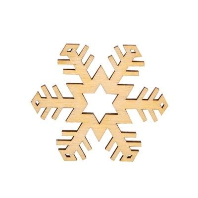 Деко фигурка снежинка. дърво. 40 mm