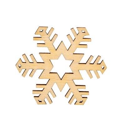 Деко фигурка снежинка. дърво. 50 mm