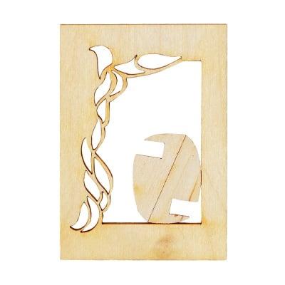 Деко фигурка младежка рамка, дърво, 60 mm