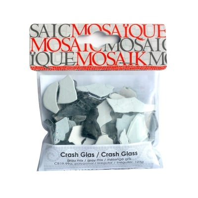 ММозаечна плочка Crash glass, стъкло, 1-3 cm, 50 бр., сив микс