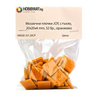 Мозаечни плочки JOY, стъкло, 20x20x4 mm, 52 бр., оранжево