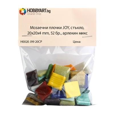 Мозаечни плочки JOY, стъкло, 20x20x4 mm, 52 бр., арлекин микс