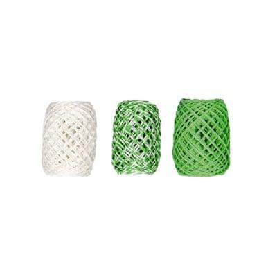 Хартиена връв, 2мм х 15м, 3 броя, зелен микс