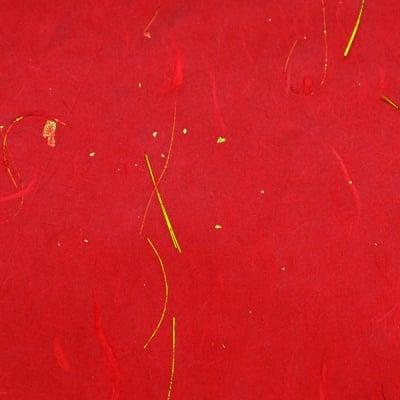 Хартия копринена с влакна, 35g/m2, 50x70cm, 1л, червена златен ефект