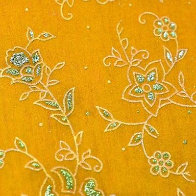 Хартия ръчна памучна, 50 g/m2, 50 x 70cm, 1л, жълта с релефни растения