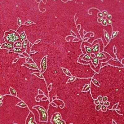 Хартия ръчна памучна, 50 g/m2, 50x70cm, 1л, червена с релефни растения