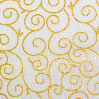 Хартия ръчна памучна, 65 g/m2, 50 x 70 cm, 1л, бял със златни арабески