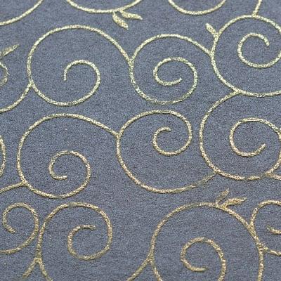 Хартия ръчна памучна, 65 g/m2, 50x70 cm, 1л, черен със златни арабески