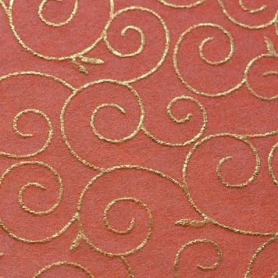 Хартия ръчна памучна, 65g/m2, 50x70cm, 1л, оранжев със златни арабески