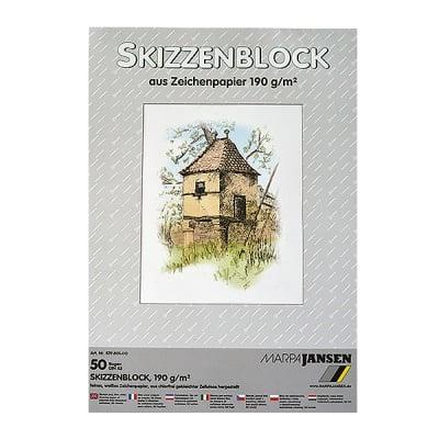Хартия за скици, 190 g/m2, А3, 50 л. в блок, бяла