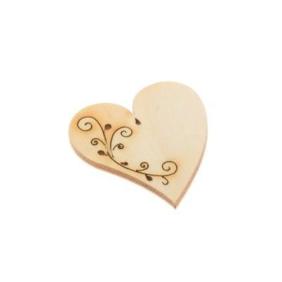 Деко фигурка сърце с филигран. дърво. 40 mm