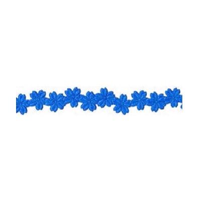 Лента с 3D мотиви, 12 mm, 2m, цветчета, синя
