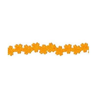 Лента с 3D мотиви, 12 mm, 2m, цветчета, оранжева