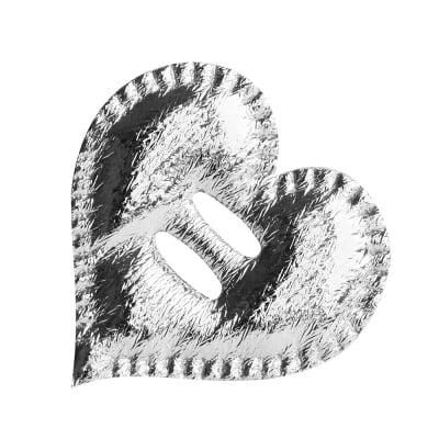 Декорация за лента, Сърце, 38 mm, сребро, 25 бр.