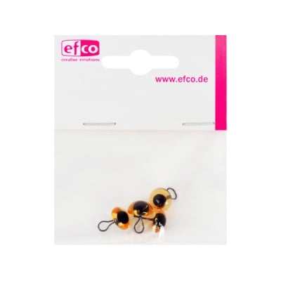 Животински очички - копчета, ф 12 mm, 4 броя, жълти