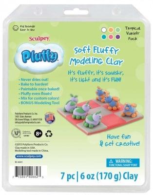 Комплект Глина Pluffy Sculpey, 6х170g,Tropical,7 части