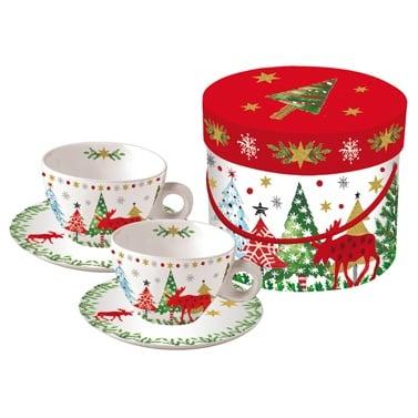 Коледен порцеланов комплект чаши