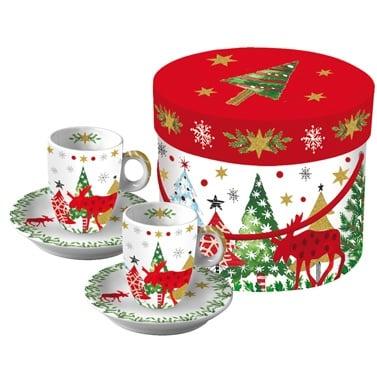 Коледен порцеланов комплект за кафе