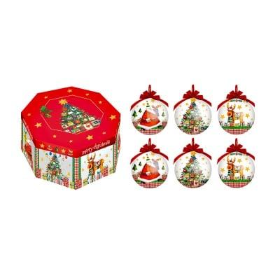 """Коледна украса """"Дядо Коледа, еленчета и елхички"""", 6 бр."""