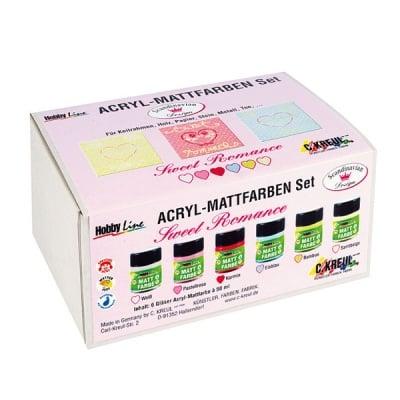 Комплект акрилни бои Hobby Line, романтични матови, 6 x 20 ml