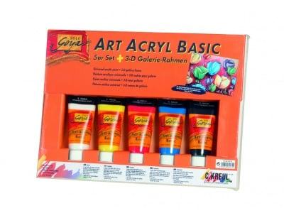 Комплект акрилни бои SOLO Goya BASIC, 100 ml, 5 цвята + 3D рамка