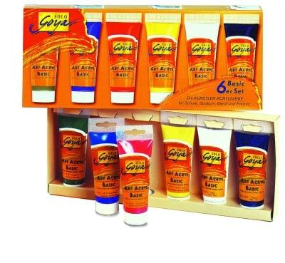 Комплект акрилни бои SOLO Goya BASIC, 100 ml, 6 цвята