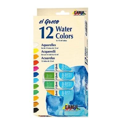 Комплект акварелни бои elGreco, 12 ml, 12 цвята