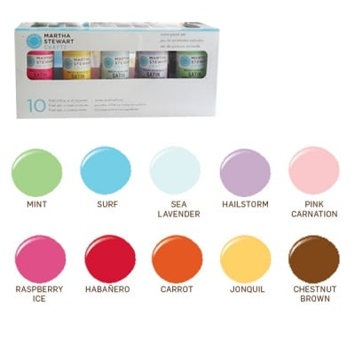 Комплект бои акрилни Martha Stewart, 59 ml, сатен, 10 цв. x 59 ml