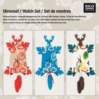 "Комплект часовник RicoDesign, ""Ловна хижа"", 31 x 31 x 3 cm"