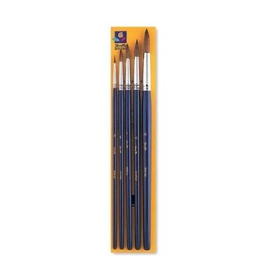 Комплект четки кръгли за бои на водна основа SHAMI, Nr.2,6,8,10,15