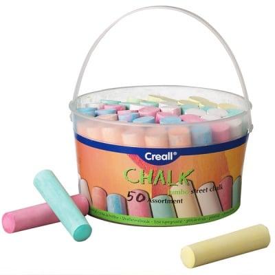 Комплект цветни дебели тебешири, 6 цвята, 50 части