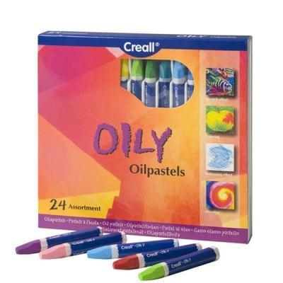 Комплект цветни маслени пастели CREALL Oily 12 цвята, 24 бр.