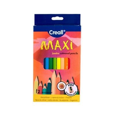 Комплект цветни моливи CREALL Maxi, лакирани, 12 цвята, 12 бр.