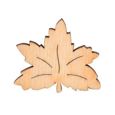 Комплект дървени деко фигурки Листа, 6 части
