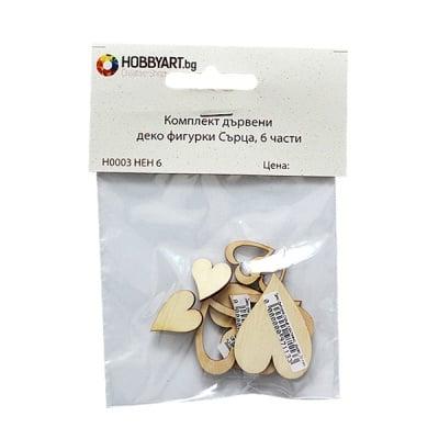 Комплект дървени деко фигурки Сърца, 6 части