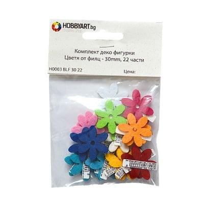 Комплект деко фигурки Цветя от филц